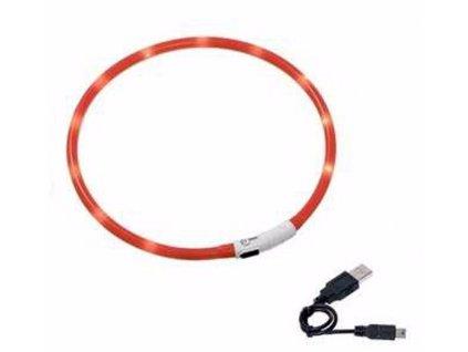Karlie LED obojek dobíjecí červená 35 cm