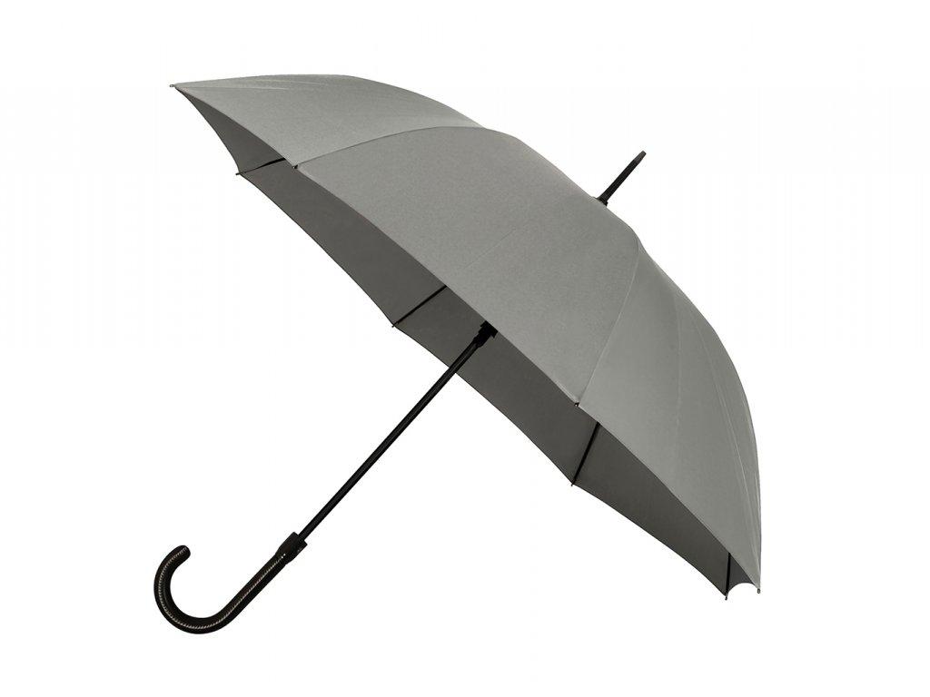 Šedý vystřelovací unisex deštník s koženou rukojetí