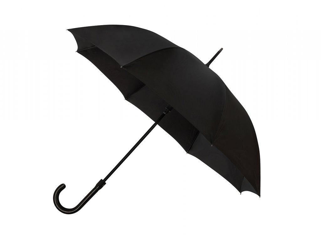 Luxusní černý pánský vystřelovací deštník s koženou rukojetí