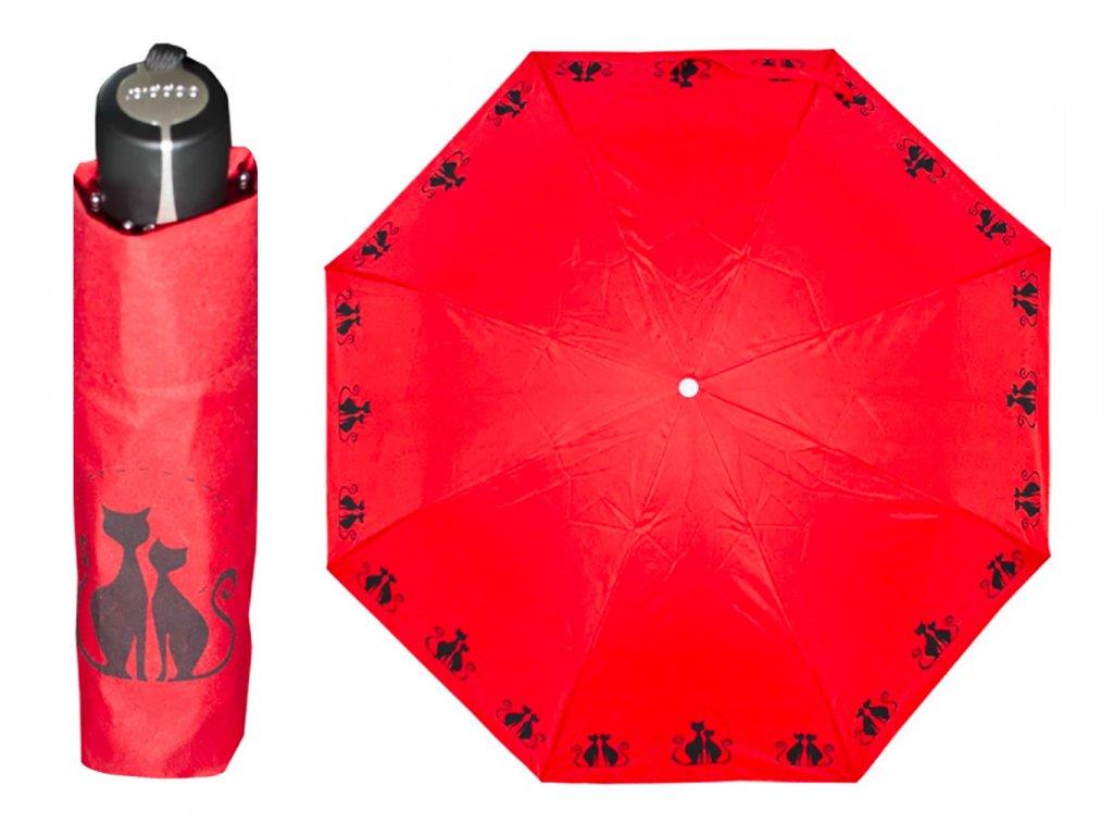 Dámský skládací deštník Dreaming CATS červený