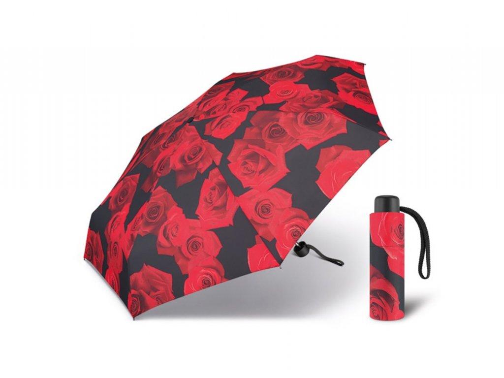 Happy Rain Petito Red Rose dámský skládací mini deštník s červenými růžemi