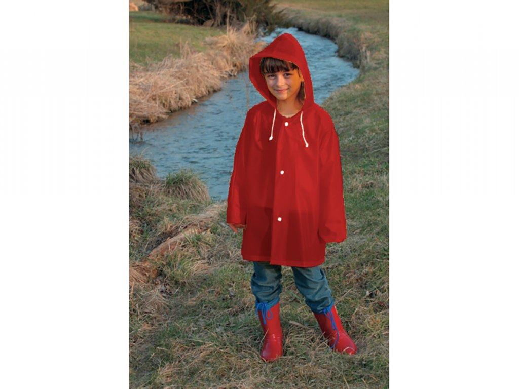 dětská pláštěnka červená gumová 140