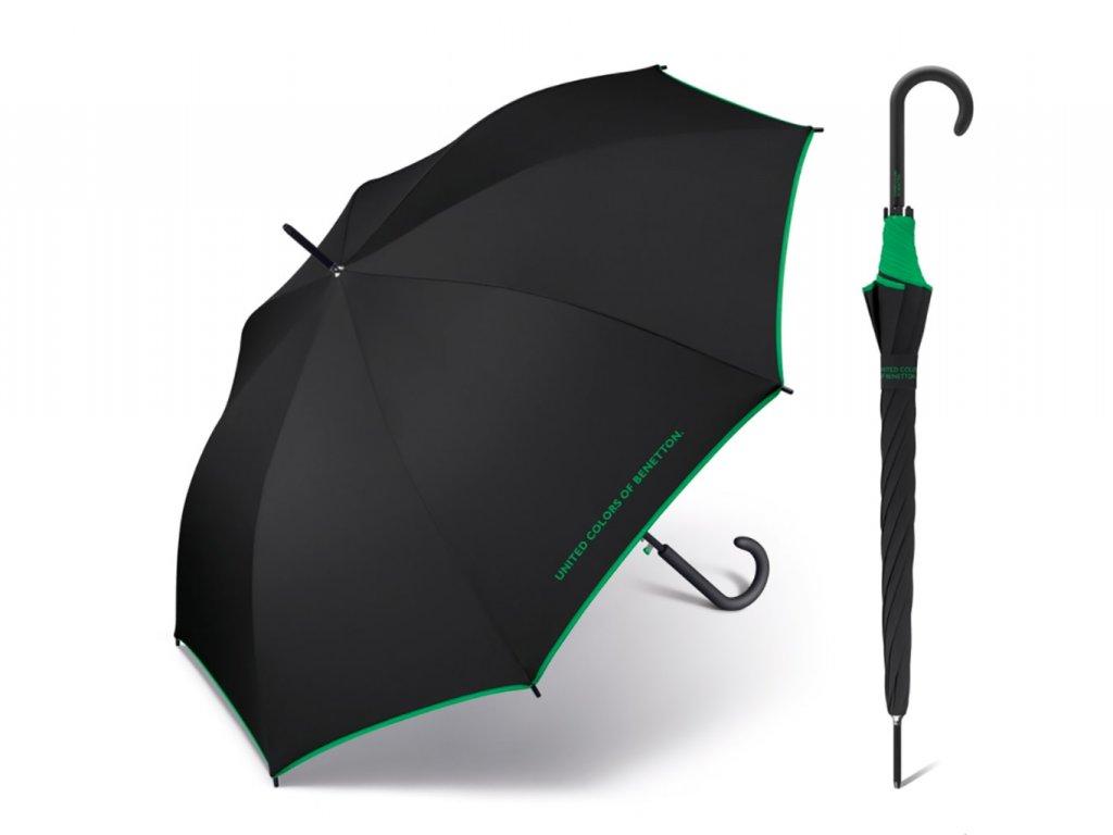 Černý benetton se zeleným lemem