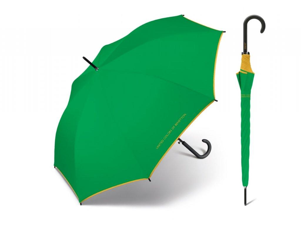 Zelený deštník Benetton se žlutým lemem