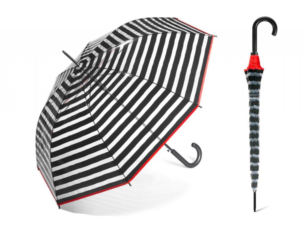 dámský průhledný pruhovaný deštník