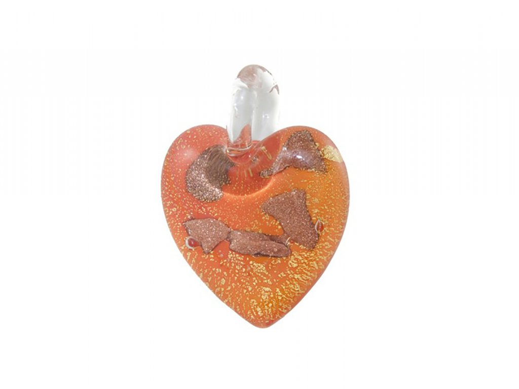 Přívěšek Murano Heart oranžové srdce