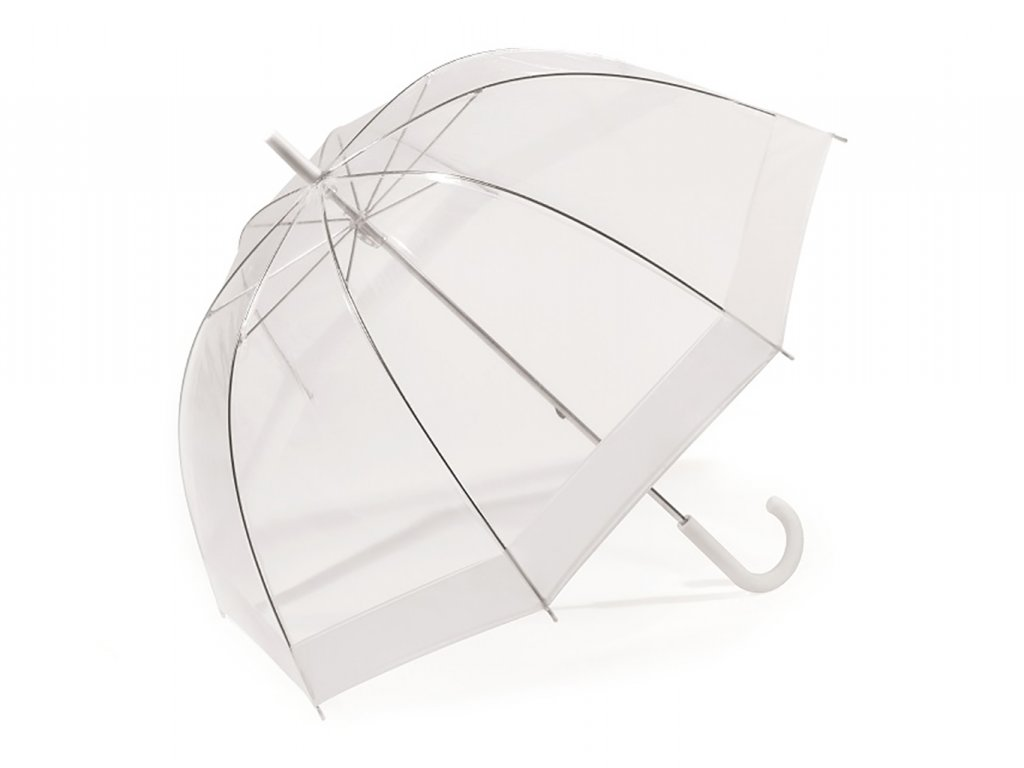 Svatební průhledný deštník s bílým širokým lemem