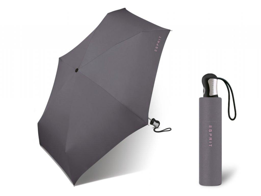 šedý skládací plně automatický mini deštník esprit 4 section
