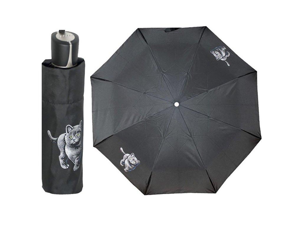 Doppler Mini Fiber CAT dámský skládací deštník s kočkou
