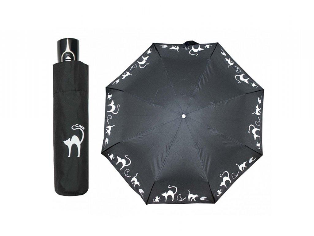 Doppler Magic Fiber CATS černý plně automatický deštník s kočkami