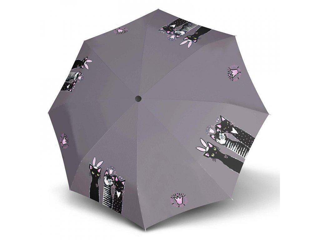 Doppler Long Royal CATS holový dámský deštník rozložený