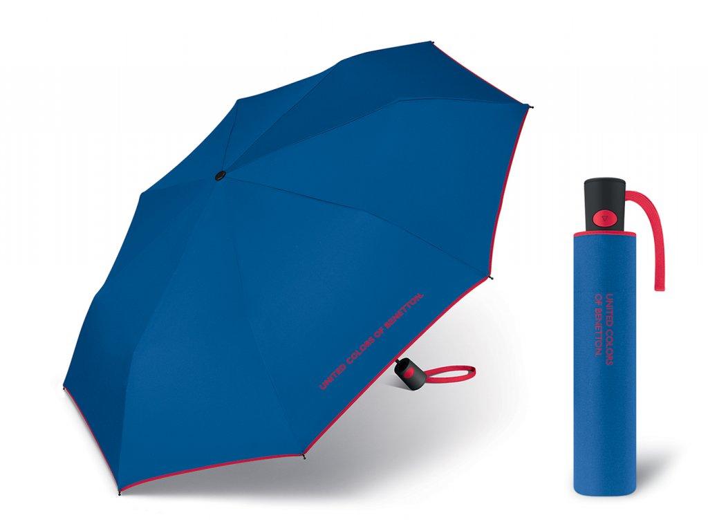 Dámský vystřelovací deštník Benetton Mini AC modrý