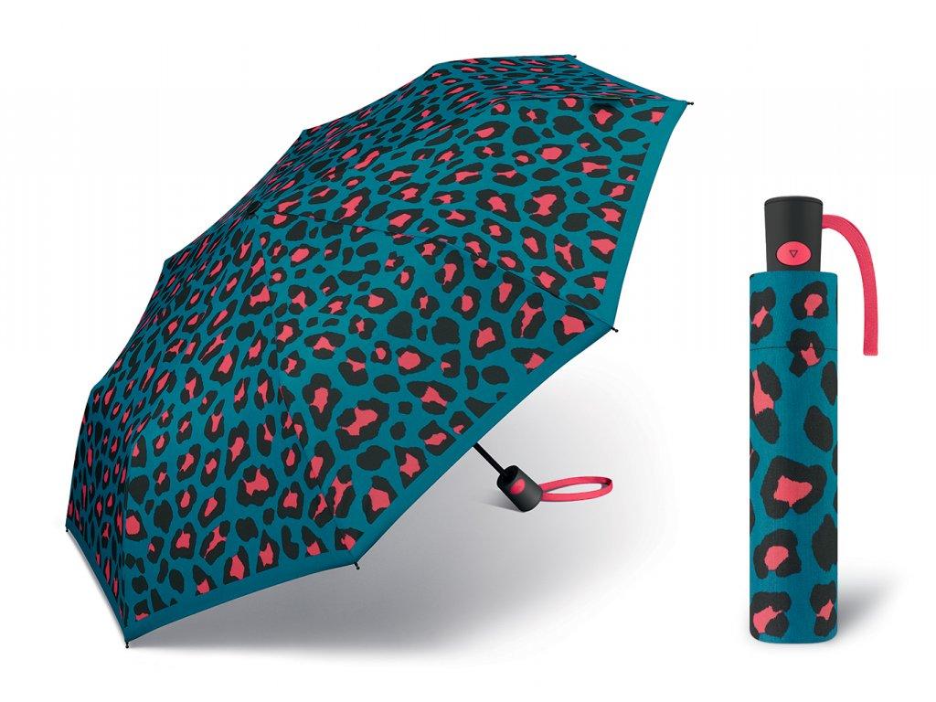 Dámský vystřelovací deštník Benetton Mini AC leopard