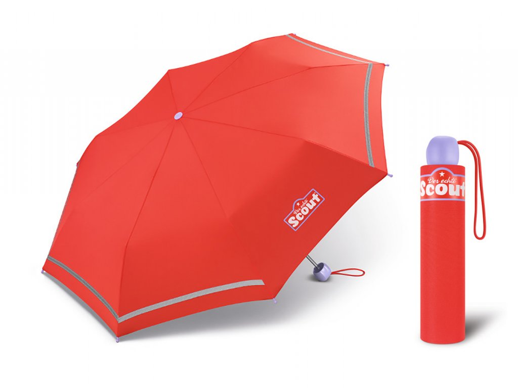Scout BASIC RED dívčí skládací deštník s reflexním proužkem