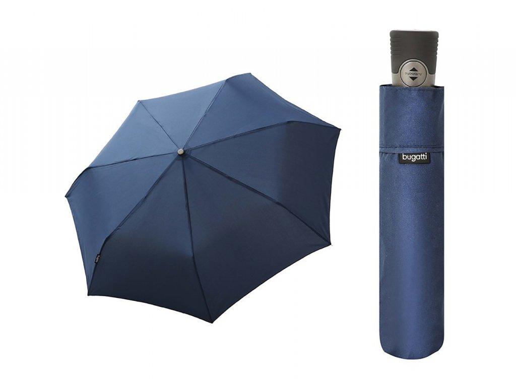 Bugatti Take It Duo pánský skládací plně automatický deštník tm. modrý