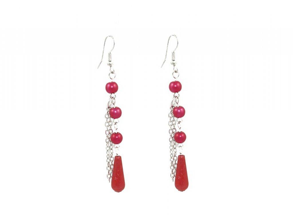 Visací dámské dlouhé korálkové náušnice červené
