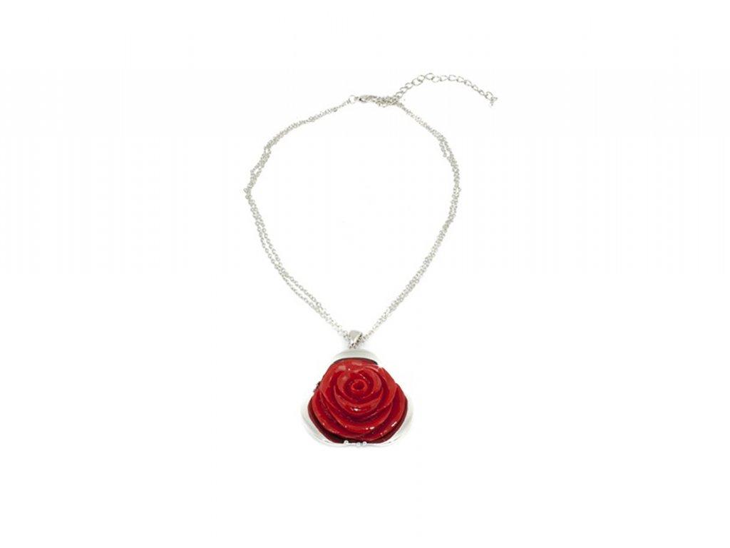 Dámský náhrdelník červená růže