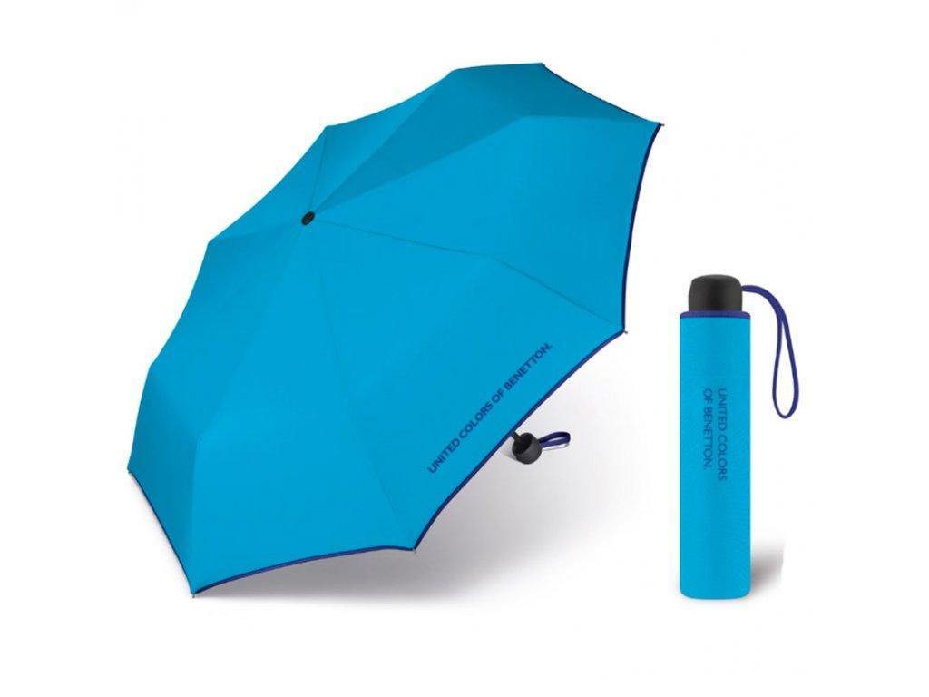United Colors of Benetton Super Mini Hawaiian Ocean - modrý deštník s modrým lemem