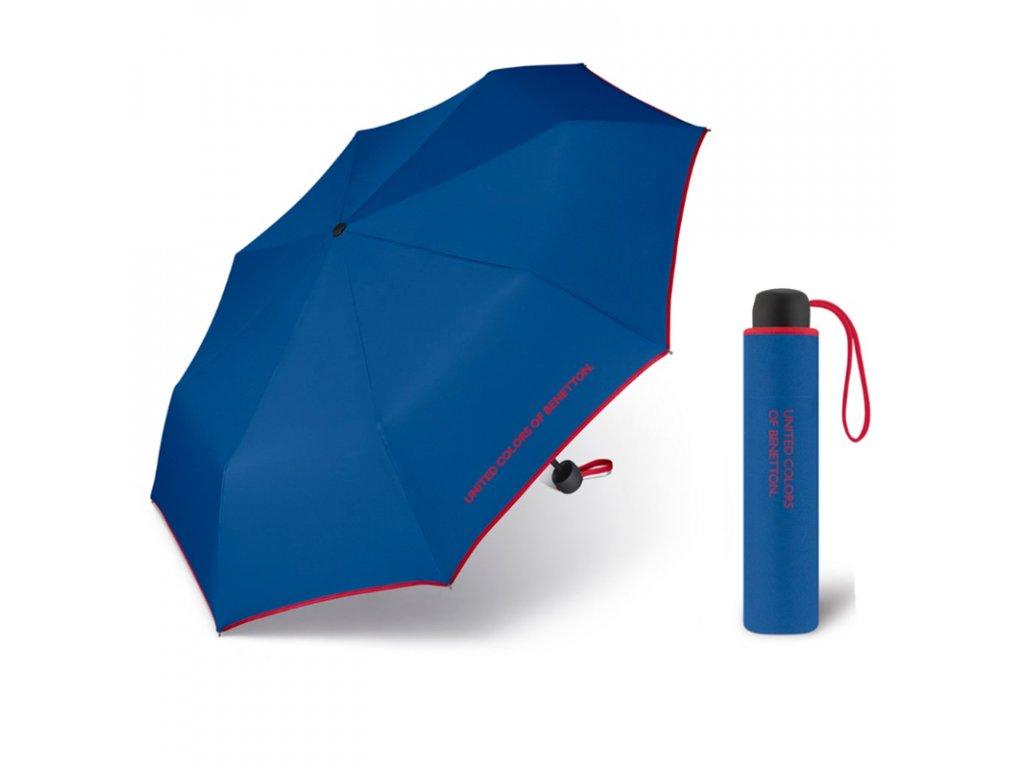 United Colors of Benetton Super Mini Blue - modrý deštník s červeným lemem