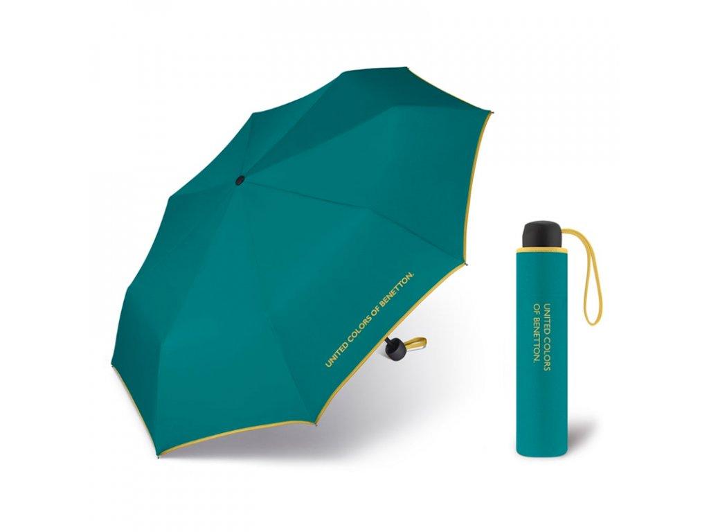 United Colors of Benetton Super Mini Fanfare Green - tyrkysový deštník se žlutým lemem
