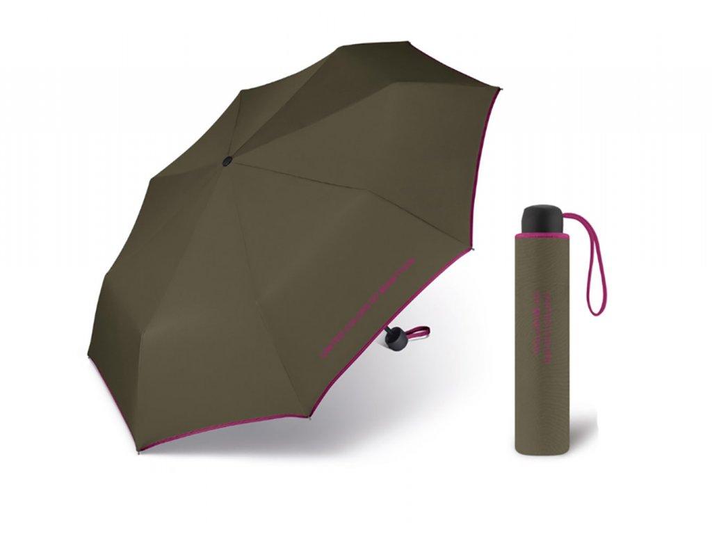 United Colors of Benetton Super Mini Olivenight - olivový deštník s fialovým lemem