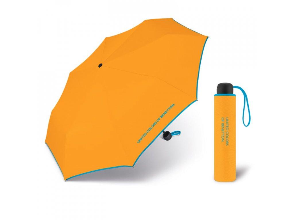 United Colors of Benetton Super Mini Citrus - žlutý deštník s modrým lemem
