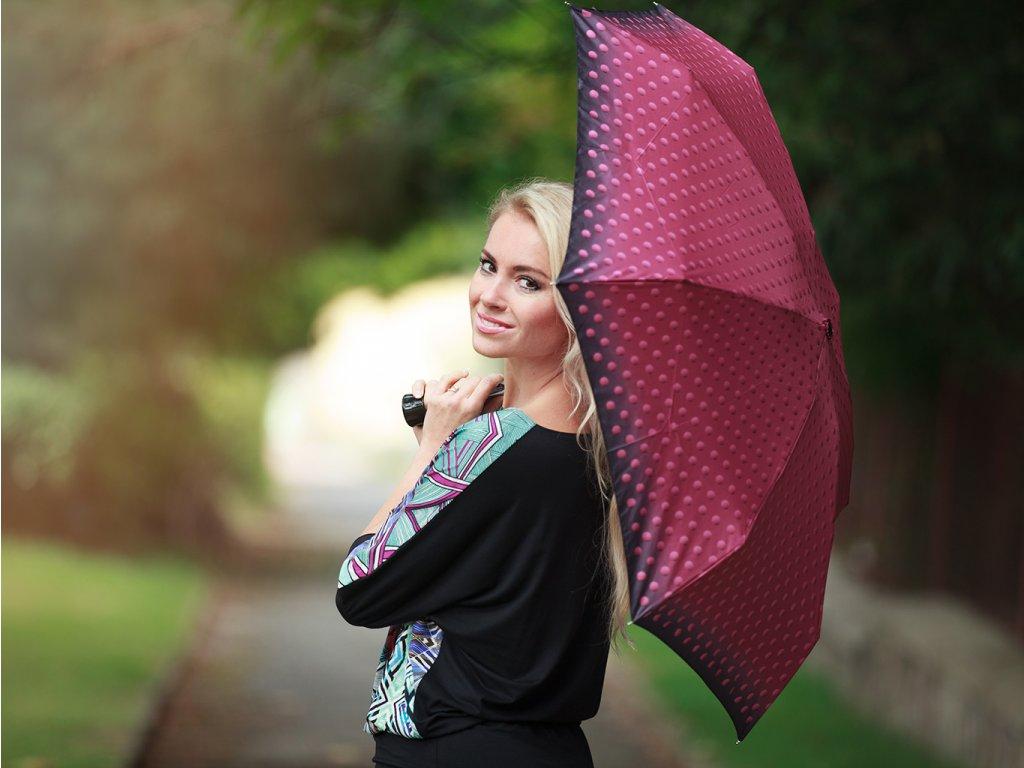 Cachemir Blur dámský skládací mini deštník červený