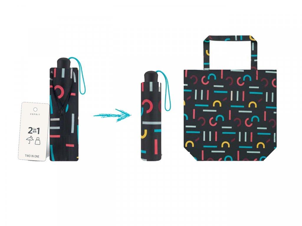 ESPRIT Letterjam skládací mini deštník s taškou černý s barvnými písmeny