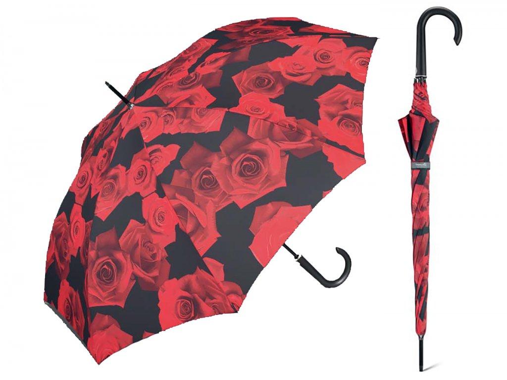 Happy Rain Long Red Rose holový deštník s potiskem růží