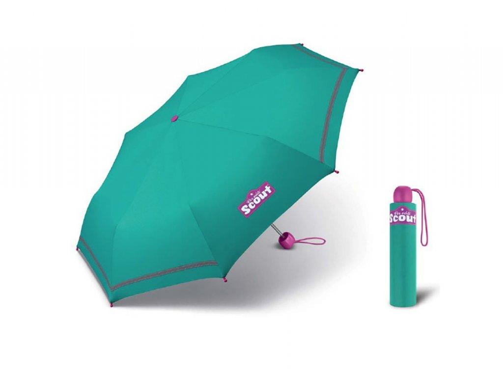Scout BASIC GREEN skládací deštník s reflexním proužkem  + 5% sleva při registraci + zdarma pláštěnka při nákupu nad 1 000 Kč