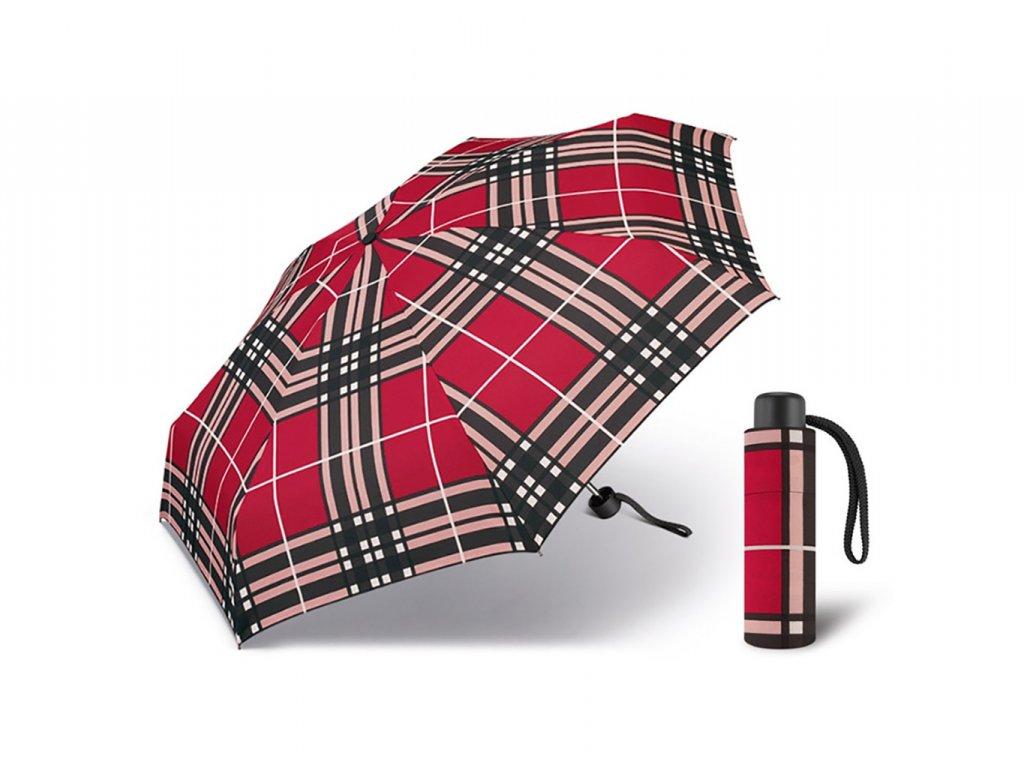 Happy Rain Petito Checks Red dámský skládací mini deštník