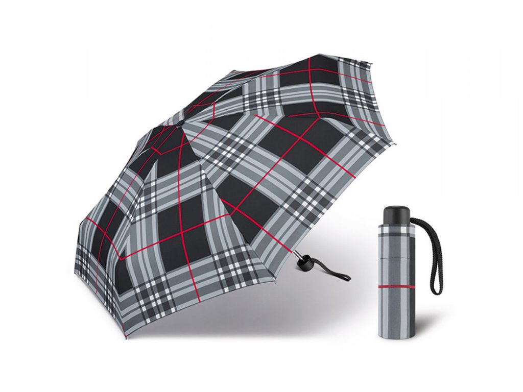 Happy Rain Petito Checks Black dámský skládací mini deštník