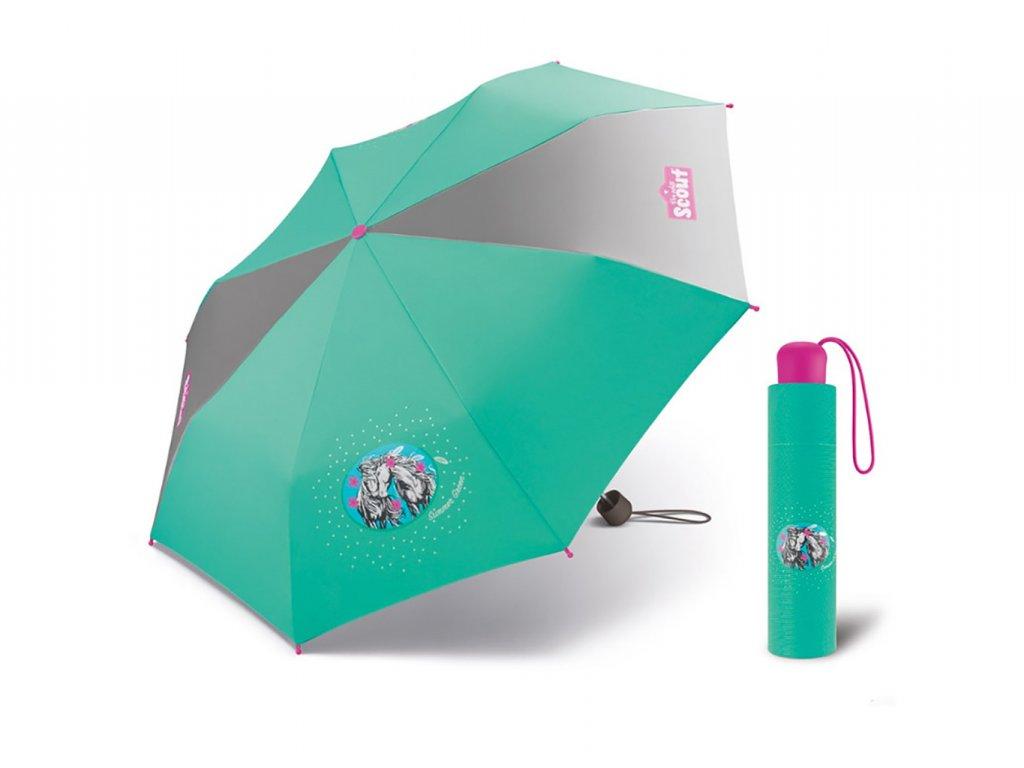 Scout SUMMER GREEN dětský deštník s obrázkem koně