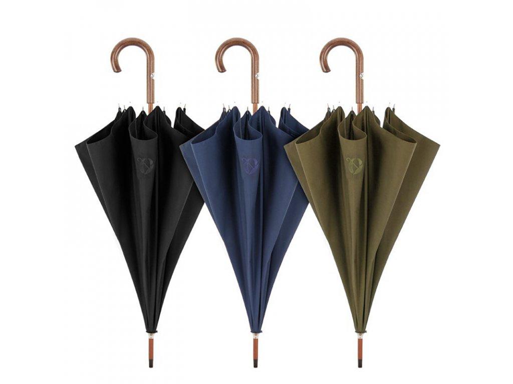 RSQ1912 Embroid luxusní pánský holový deštník s dřevěnou rukojetí
