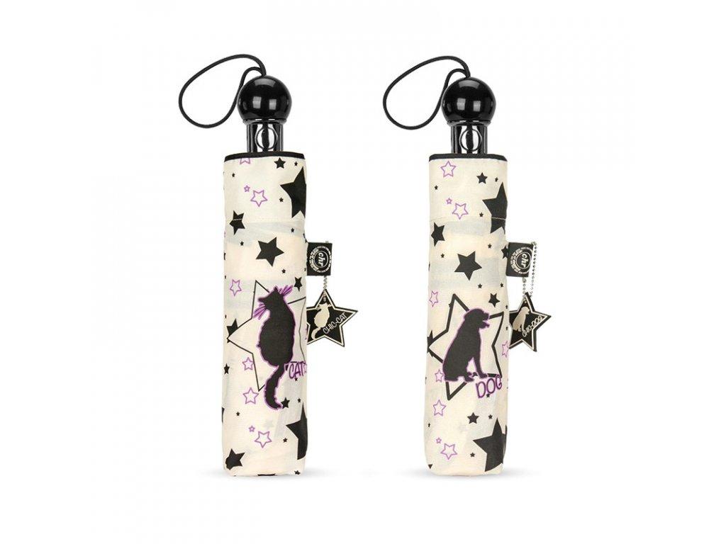 Cachemir Cats & Dogs béžový automatický skládací deštník s kočkou nebo pejskem