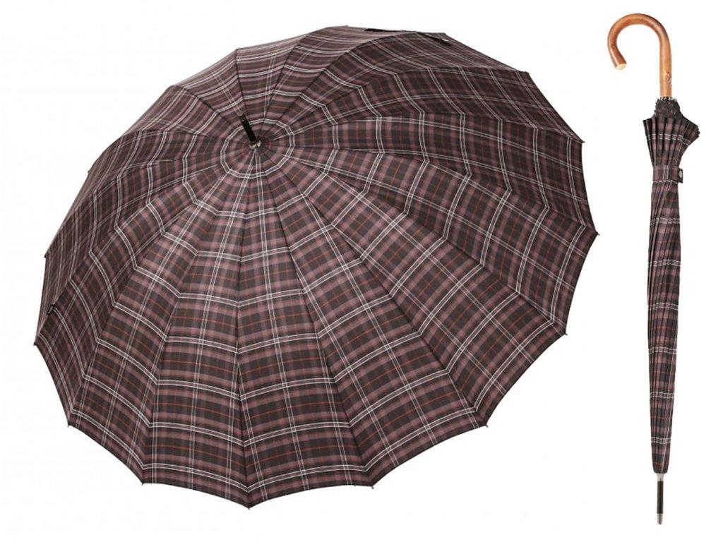 Luxusní pánský károvaný holový deštník Bugatti Doorman Check
