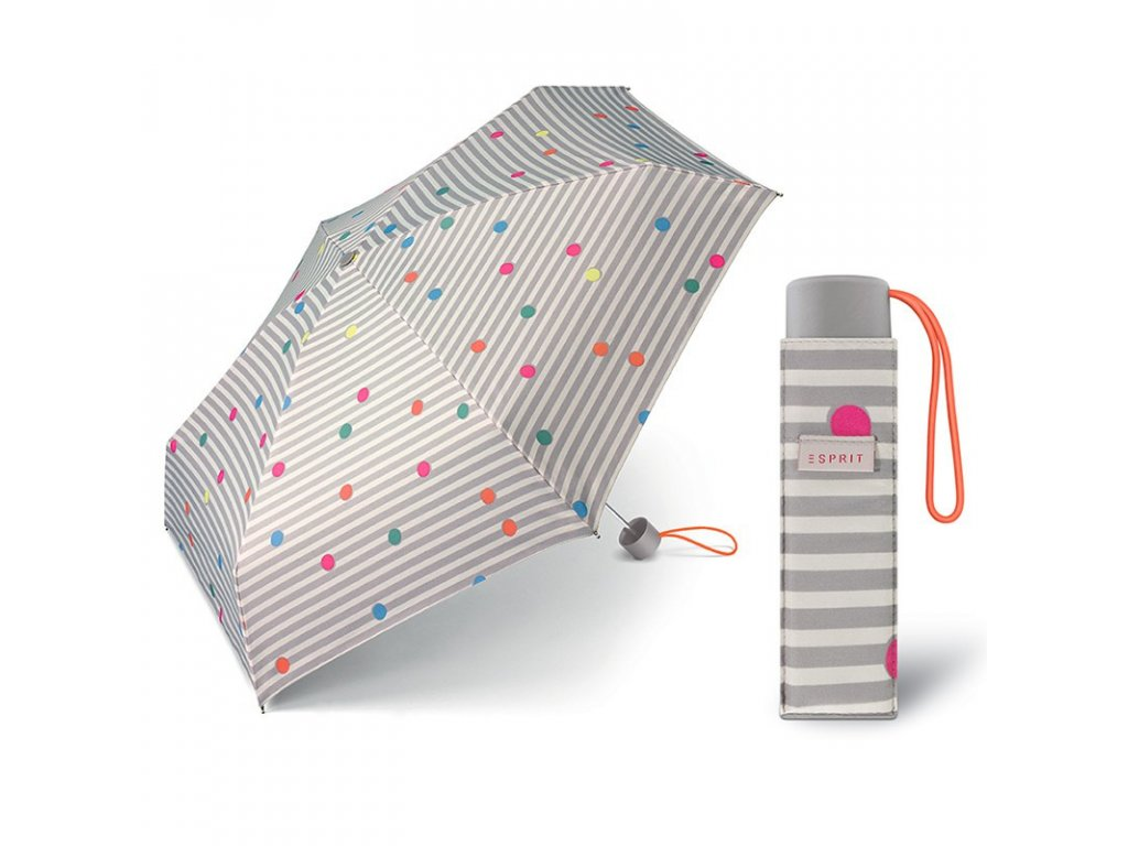 ESPRIT Petito Dots & Stripes šedý dámský proužkovaný mini deštník