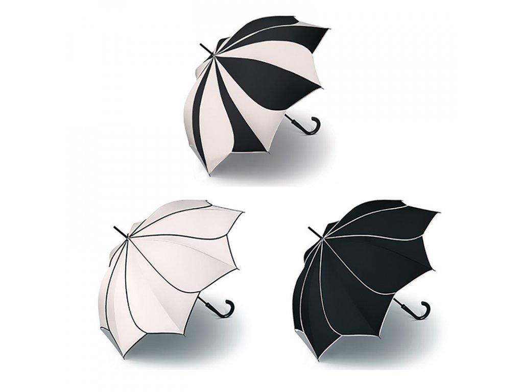 Luxusní dámský holový deštník Pierre Cardin SUNFLOWER White & Black ve tvaru květiny