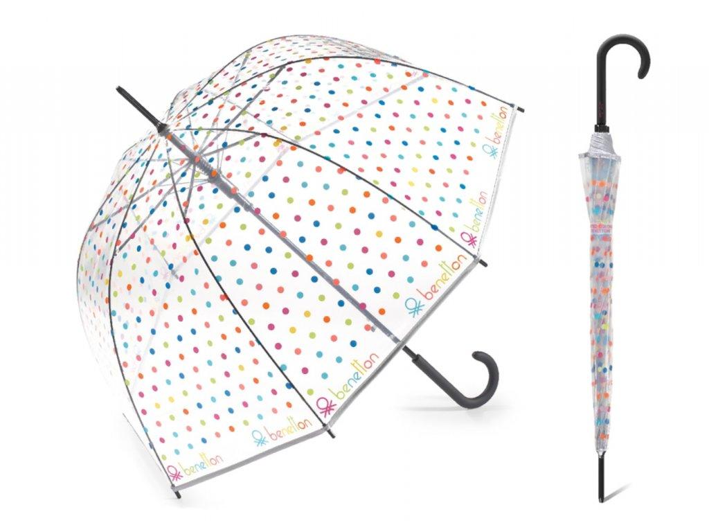 Dámský puntíkovaný průhledný deštník Benetton