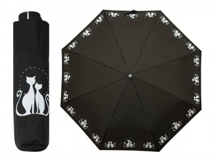 Dámský skládací deštník Dreaming CATS černý