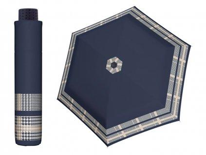 Damsky mini destnik do kabelky Doppler Havanna Timeless modry s pepitovym vzorem