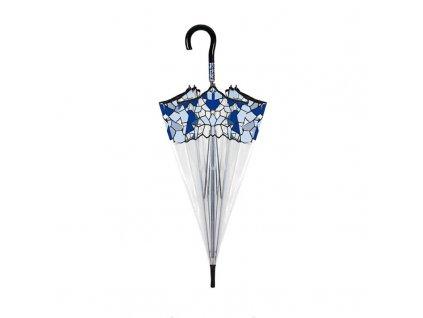 průhledný deštník s modrou mozaikou