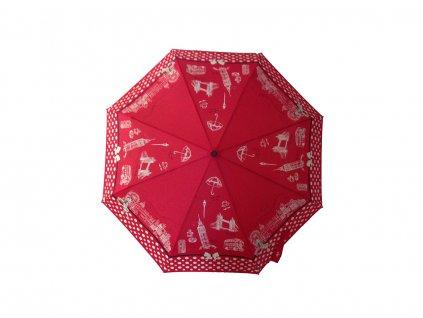 Dámský vystřelovací deštník Cachemir London červený rozevřený