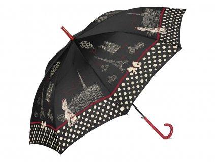 Dámský vystřelovací deštník Cachemir Paris černý otevřený