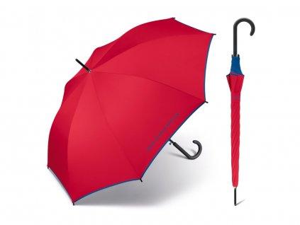 Červený deštník Benetton s modrým lemem