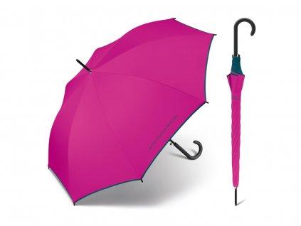 Fuxiový deštník Benetton s modrým lemem