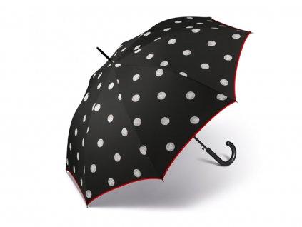 Vystřelovací deštník Happy Rain Black & White s puntíky