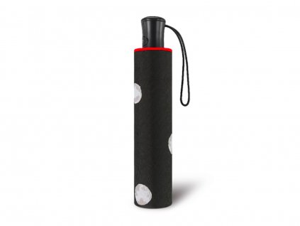 essentials black and white skládací automatický deštník puntík