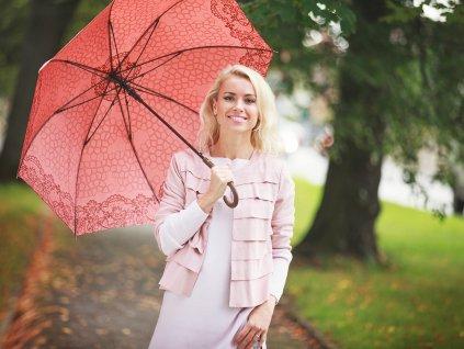Luxusní dámský deštník Cachemir Modernista červený