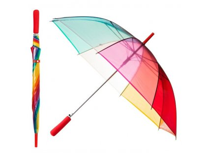 Clear RAINBOW dámský holový průhledný deštník červená rukojeť